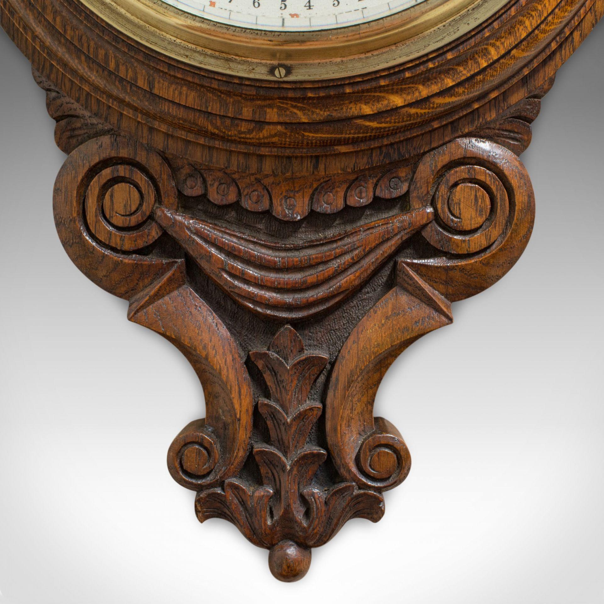 Antique Aneroid Barometer, English, Oak, Banjo, CSSA Ltd, London, Circa 1910