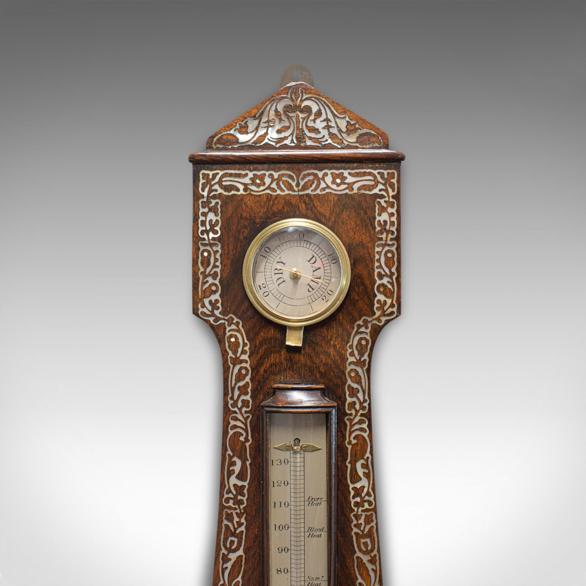Antique Banjo Barometer, English, Rosewood, Mother of Pearl, Victorian, C.1900