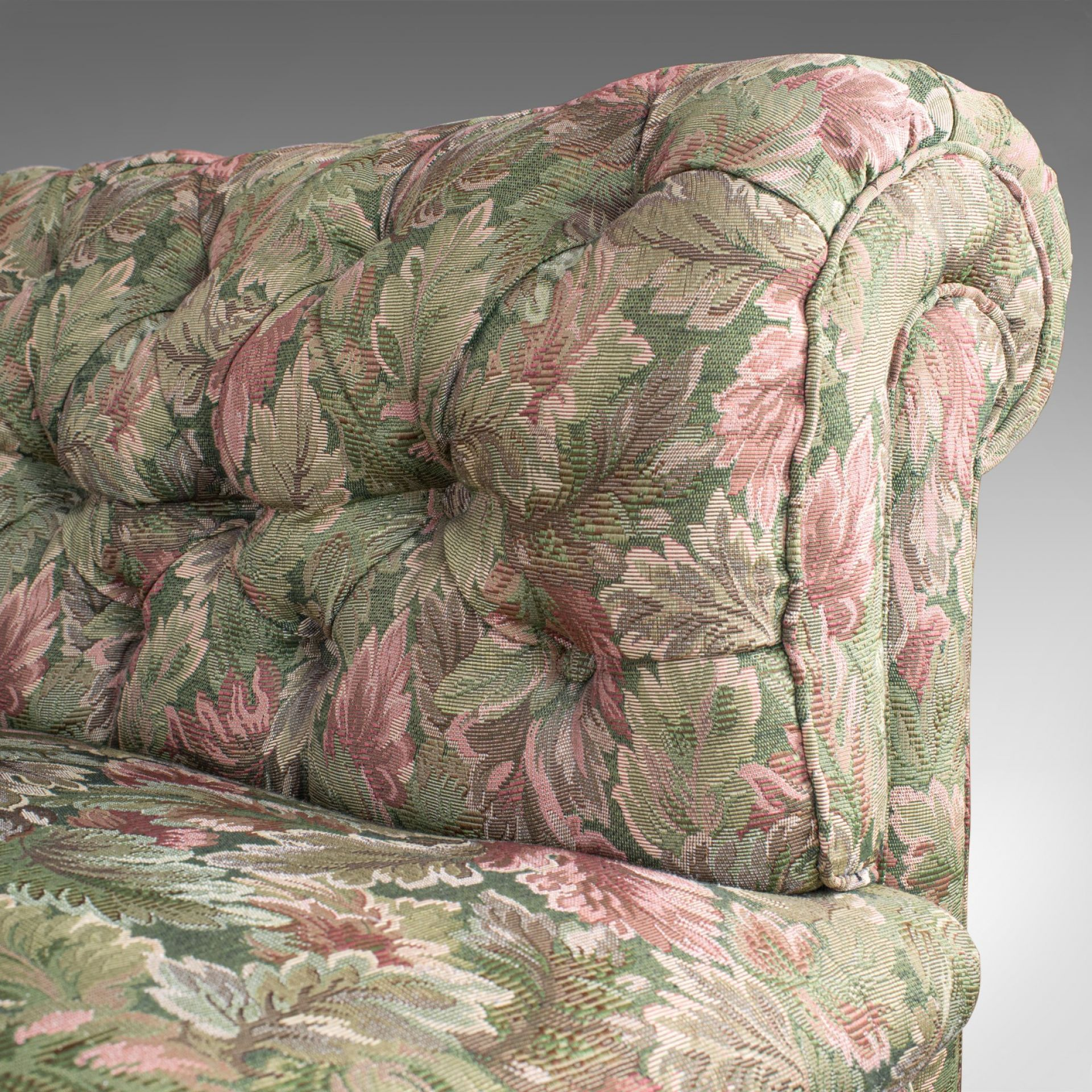 Antique Chesterfield Sofa, English, Textile, Mahogany, Couch, Seats 2 to 3