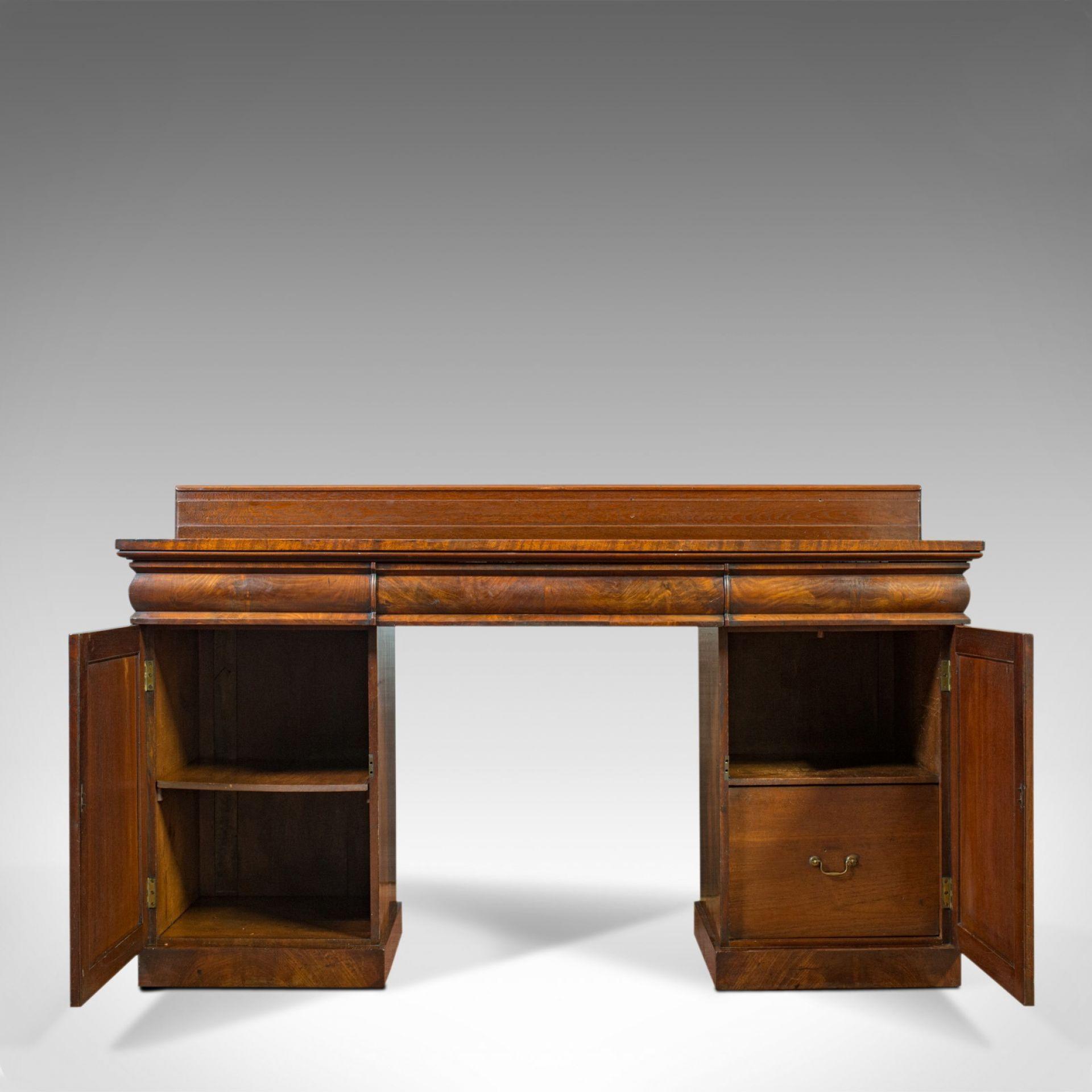 Antique Pedestal Sideboard, English, Mahogany, Flame, Dresser, Regency, C.1810