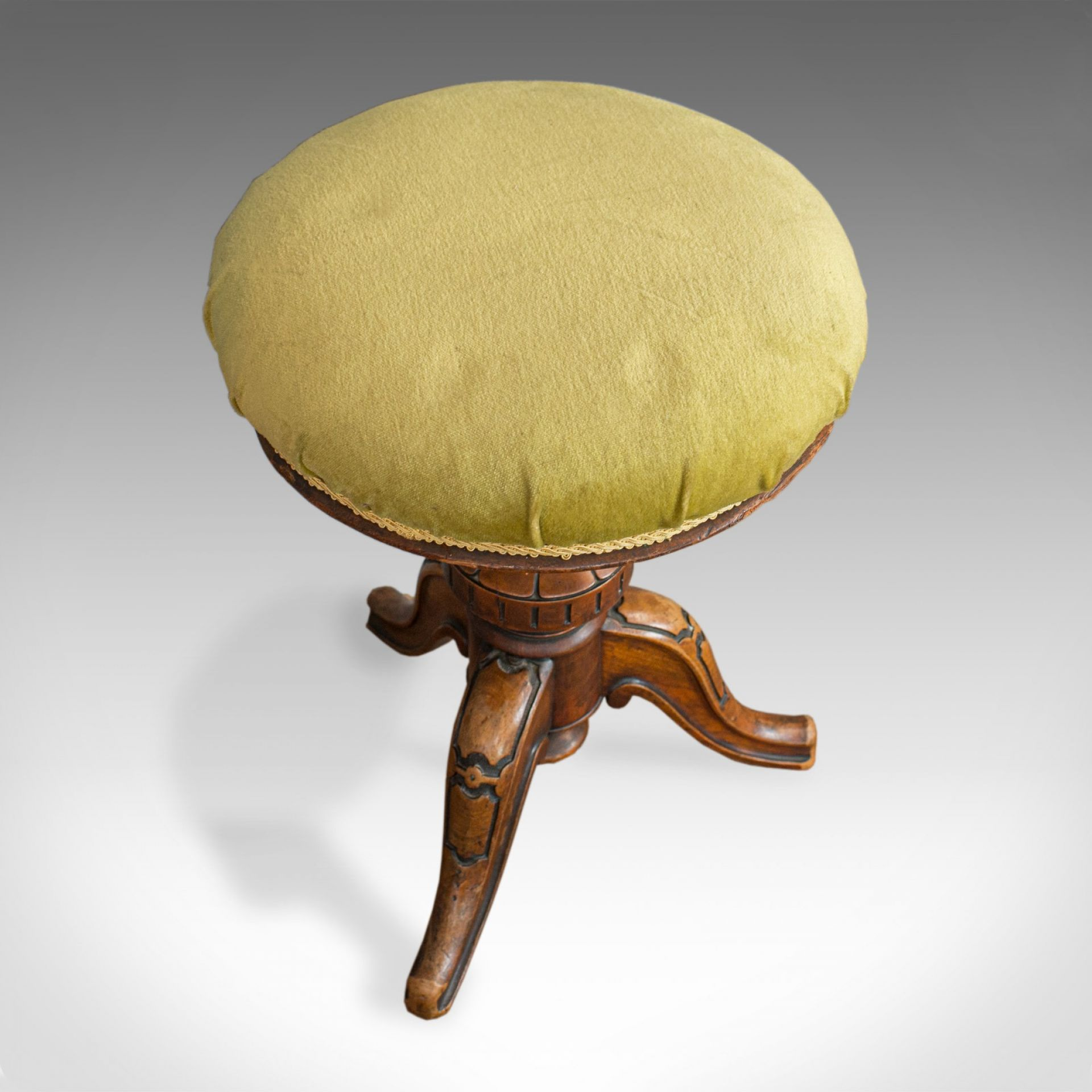 Antique Adjustable Piano Stool, English, Victorian, Walnut, Music, Seat c.1870