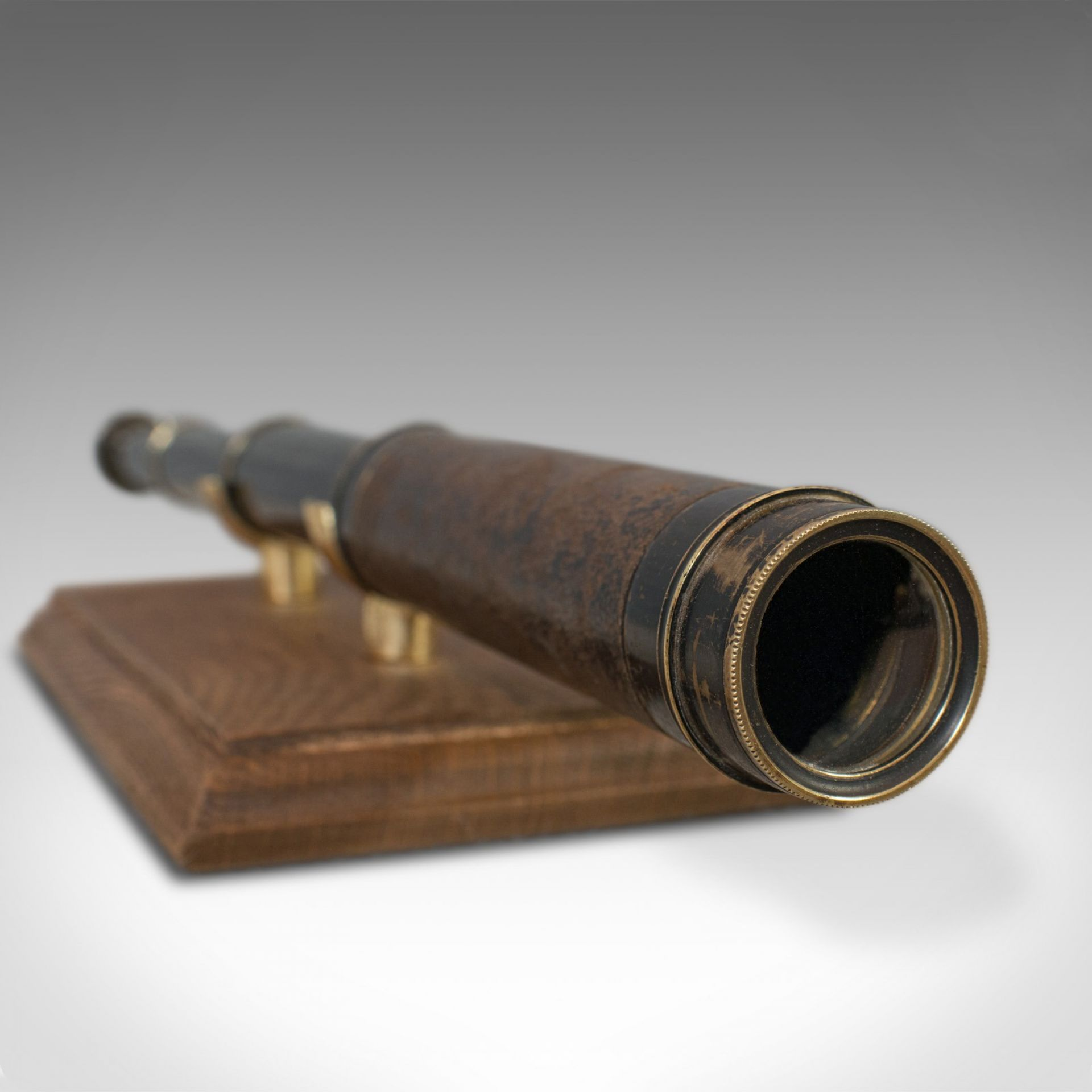 Antique Pocket Telescope, English, Brass, Leather, 3 Draw, Refractor, Victorian