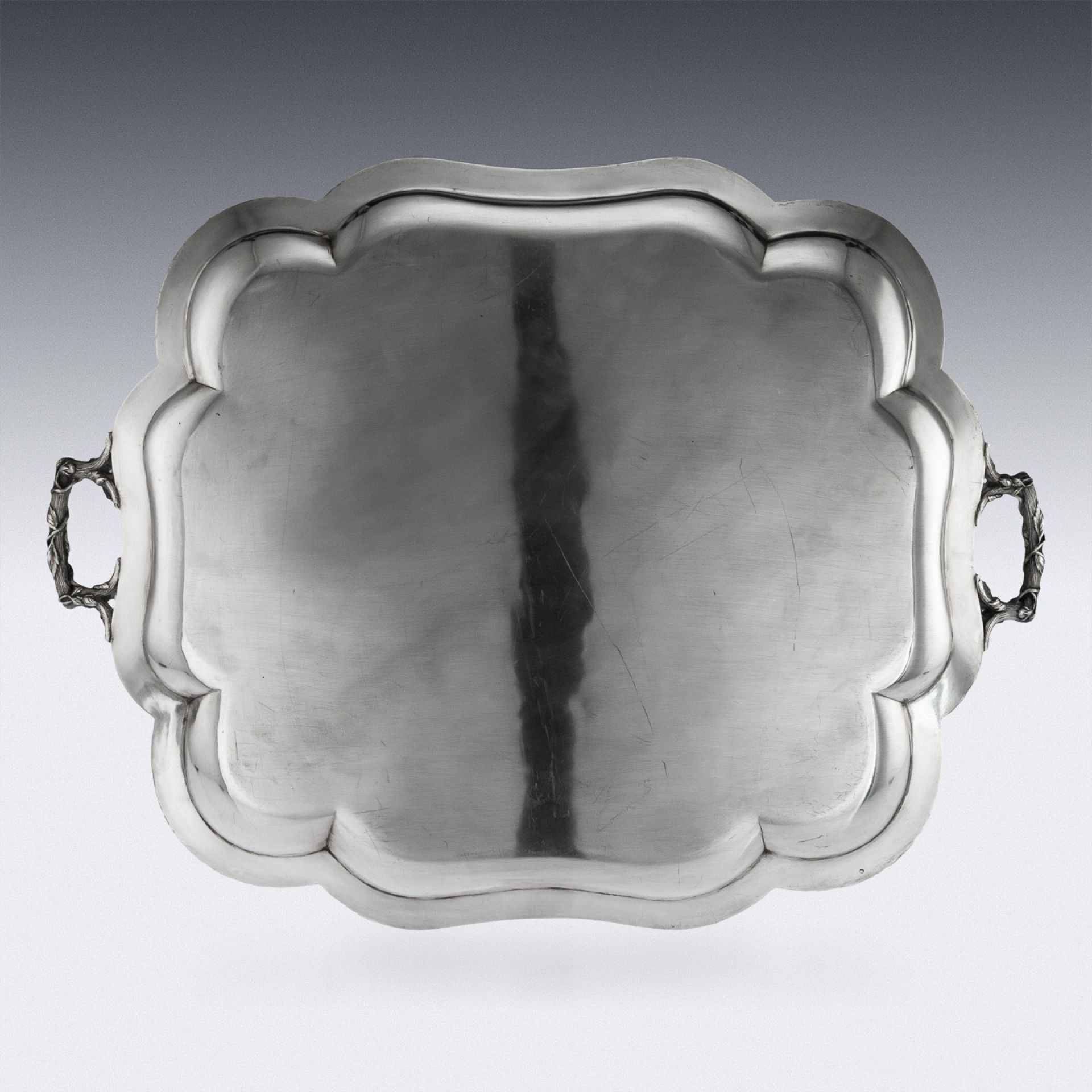 ANTIQUE 19thC FRENCH SOLID SILVER & NIELLO SERVING TRAY c.1870