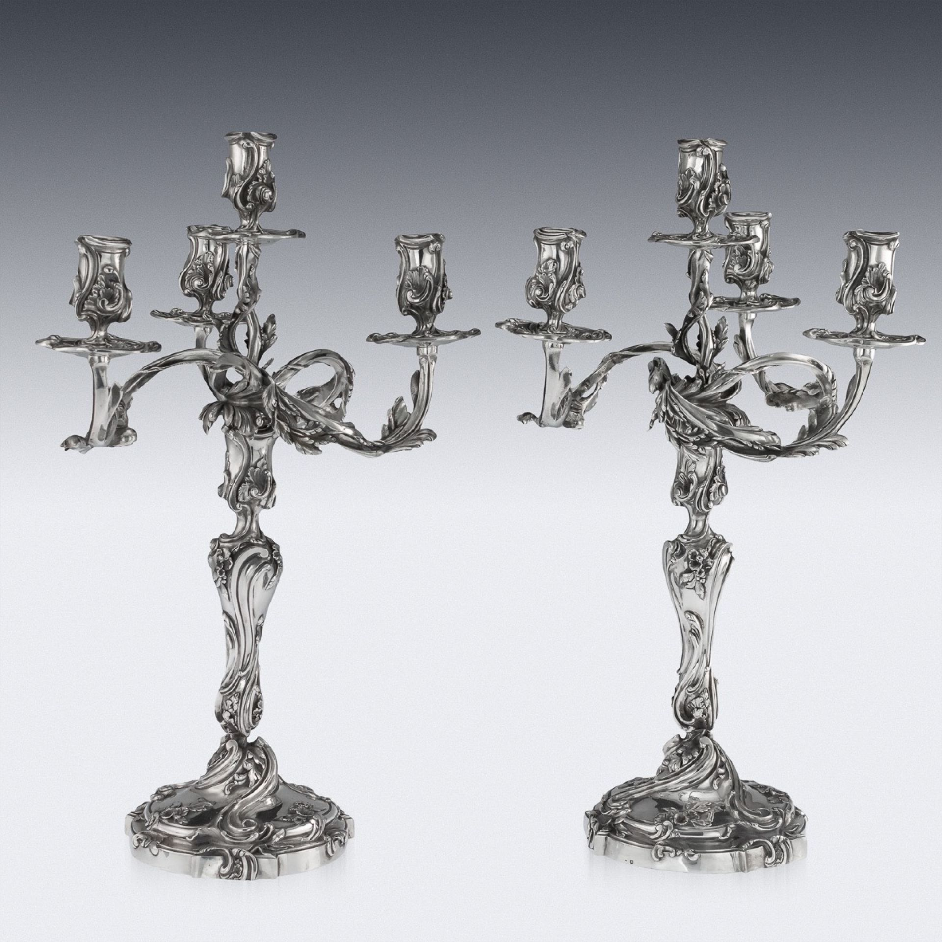 ANTIQUE 19thC FRENCH SOLID SILVER PAIR OF CAST CANDELABRA, PARIS c.1890