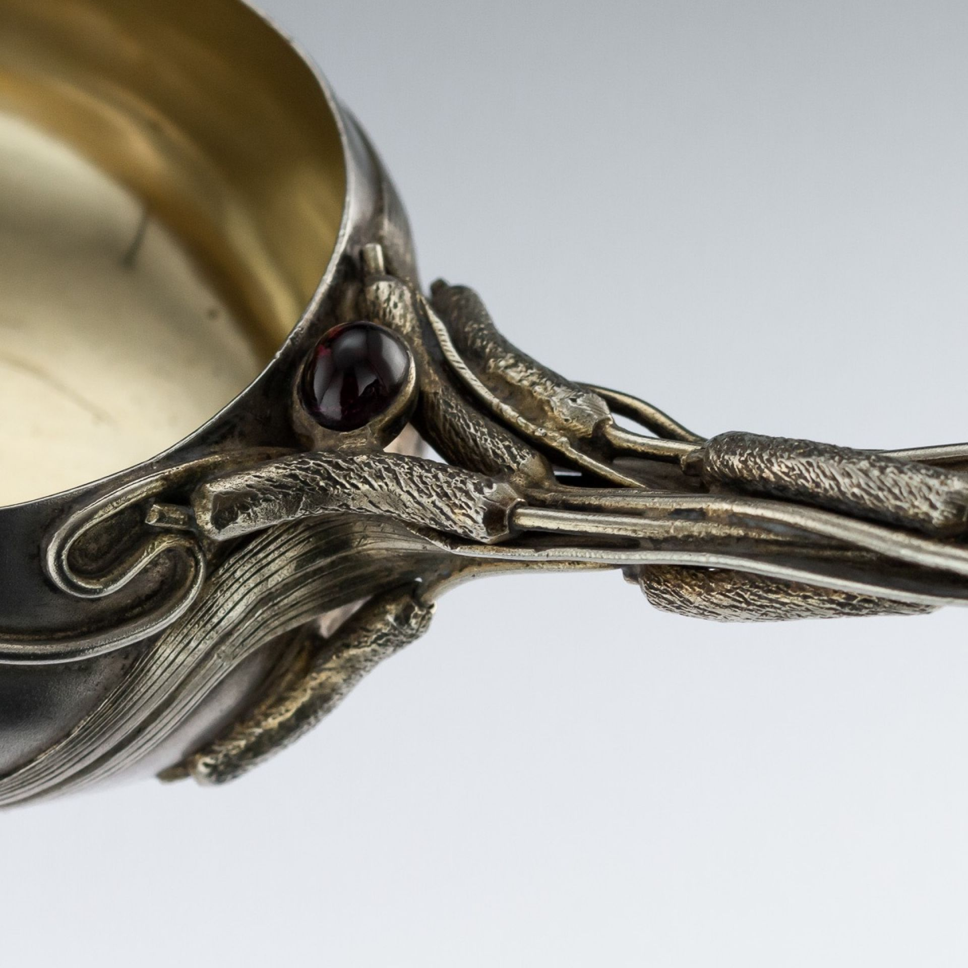 ANTIQUE 20thC RUSSIAN GEM-SET SOLID SILVER PUNCH LADLE, TARASOV, MOSCOW c.1900