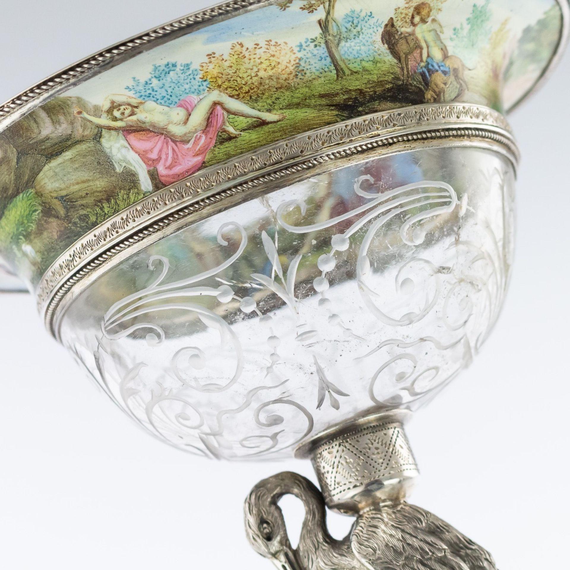 ANTIQUE 19thC AUSTRIAN ROCK CRYSTAL SILVER-GILT & ENAMEL BOWL ON STAND c.1880