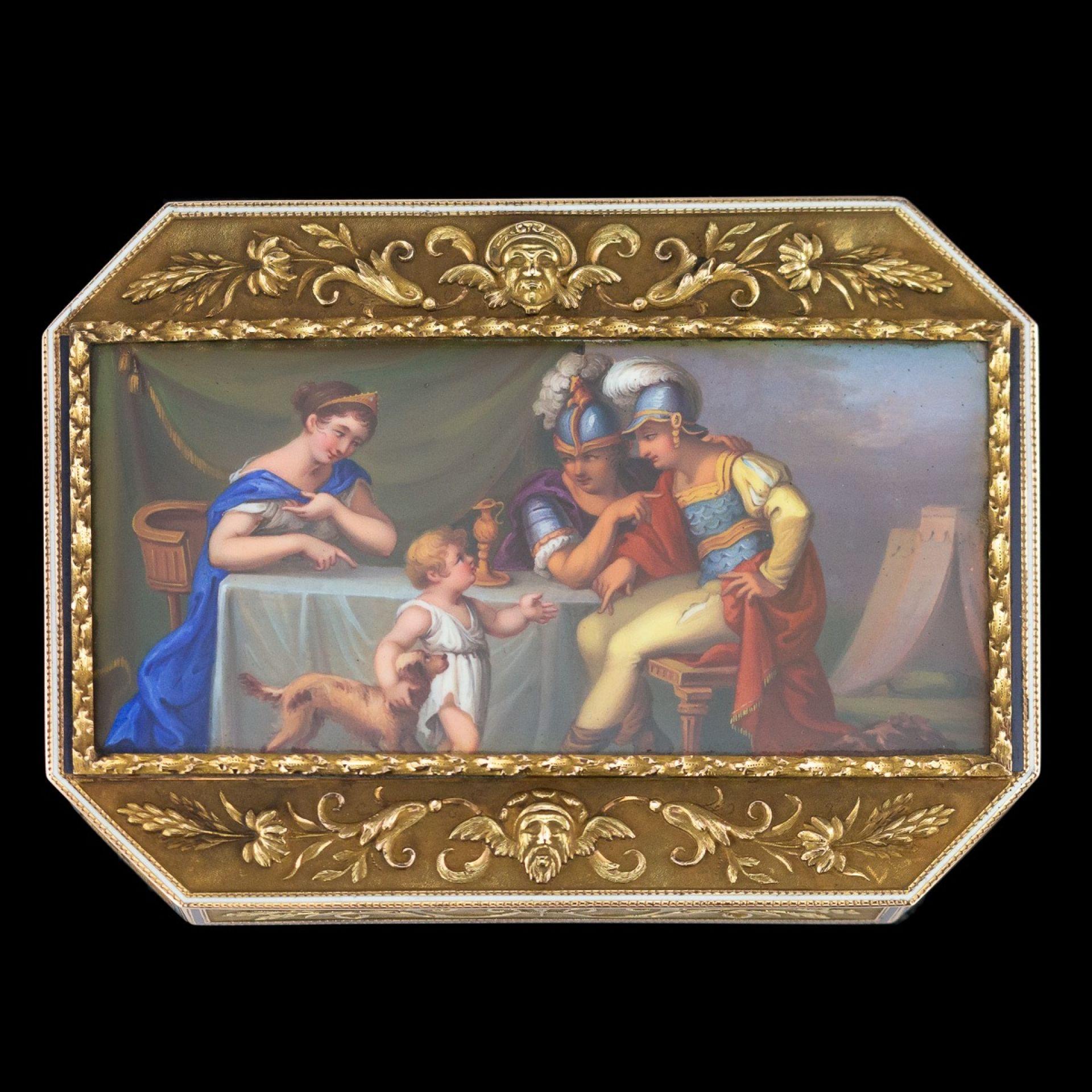 ANTIQUE 19thC SWISS 18K GOLD & ENAMEL SNUFF BOX c.1800