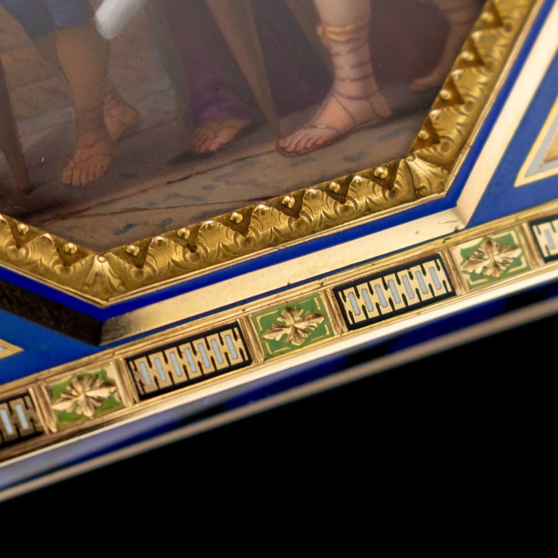 ANTIQUE 19thC SWISS 18k GOLD & ENAMEL SNUFF BOX, REMOND, LAMY & CIE c.1800