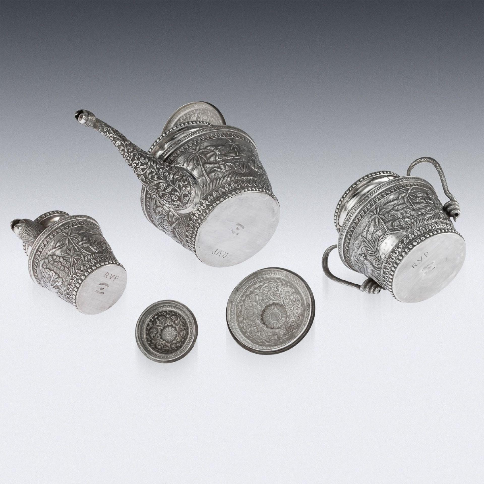 ANTIQUE 20thC INDIAN KARACHI-CUTCH SOLID SILVER TEA SET, J MANIKRAI c.1900