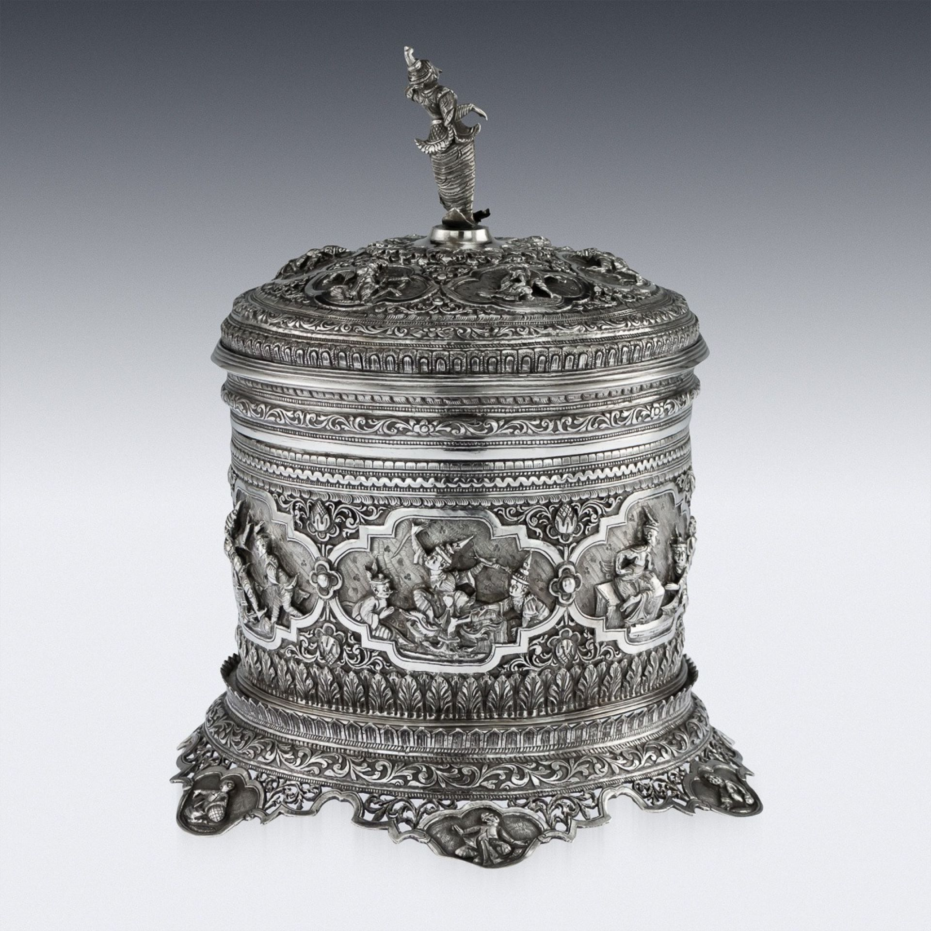ANTIQUE 19thC BURMESE SOLID SILVER BETEL BOX ON STAND, RANGOON c.1890