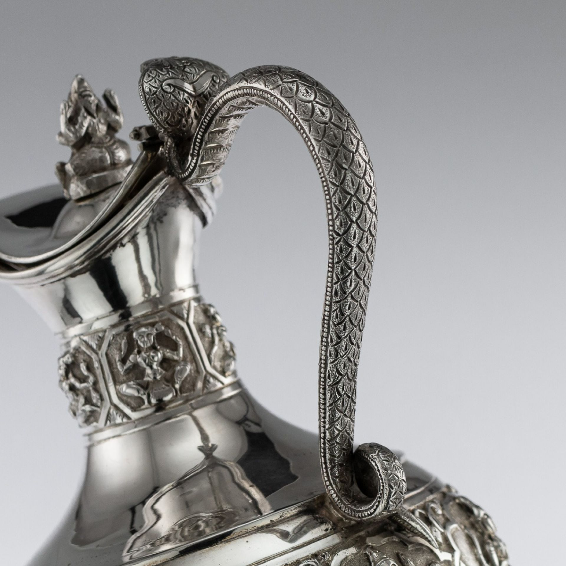 ANTIQUE 19thC INDIAN SOLID SILVER SWAMI EWER, MADRAS c.1880