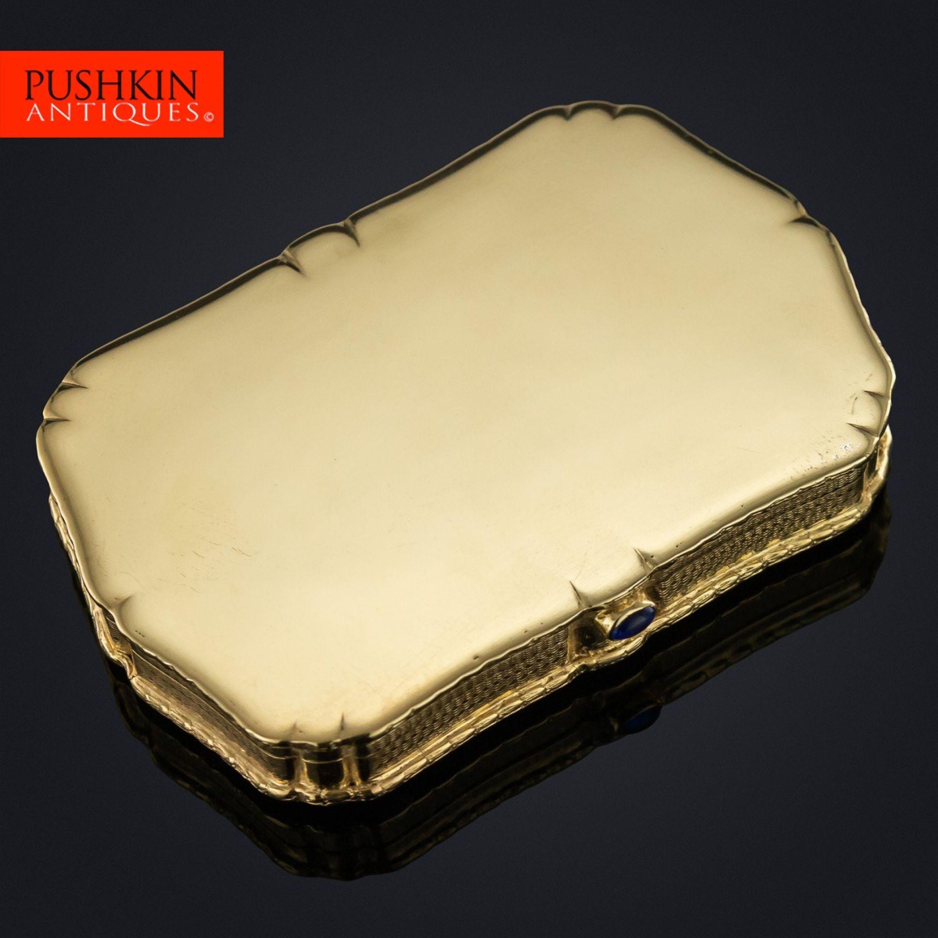 ELEGANT 20thC ITALIAN 18k GOLD & SAPPHIRE VANITY BOX c.1940
