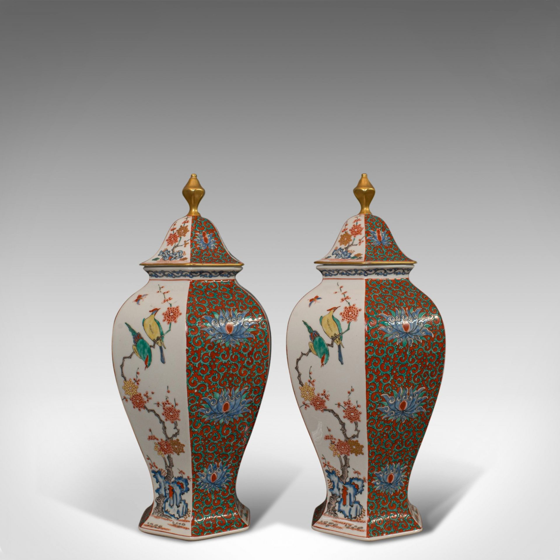 Pair of Vintage Hexagonal Spice Jars, Oriental, Ceramic, Baluster, Urn, Avian