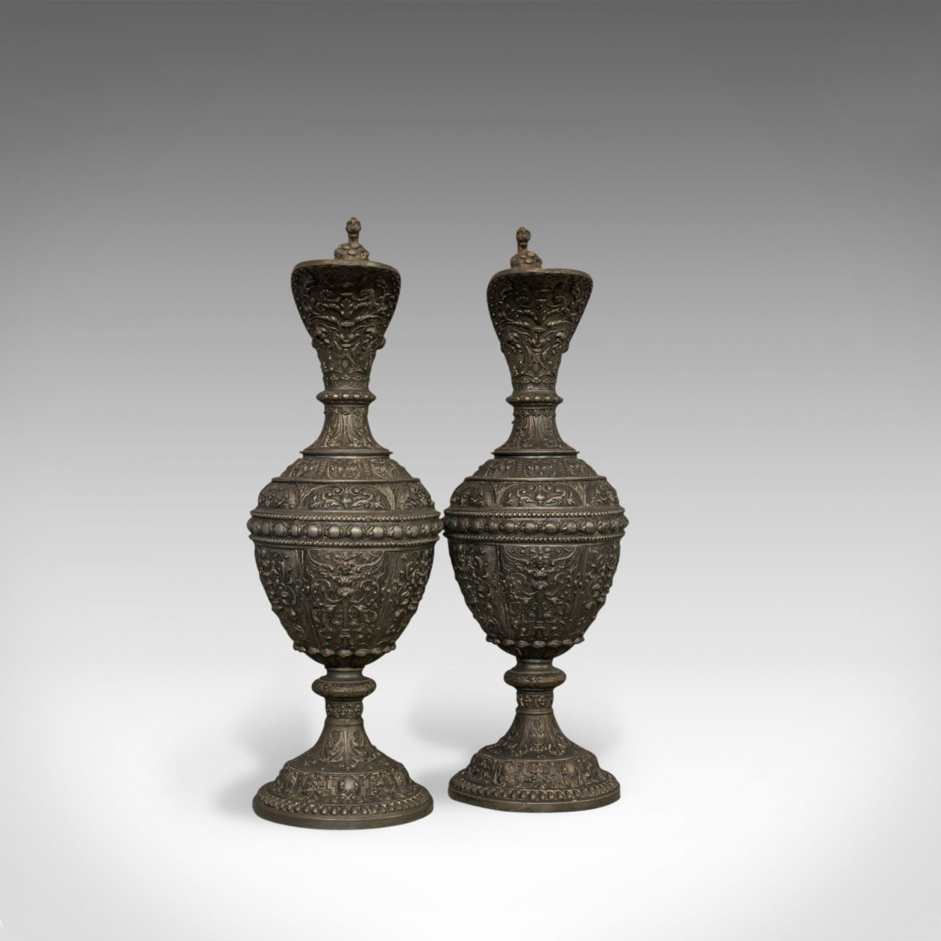 Pair Of, Antique Ewers, Classical Taste, French, Bronze Spelter, Jug, Pitcher