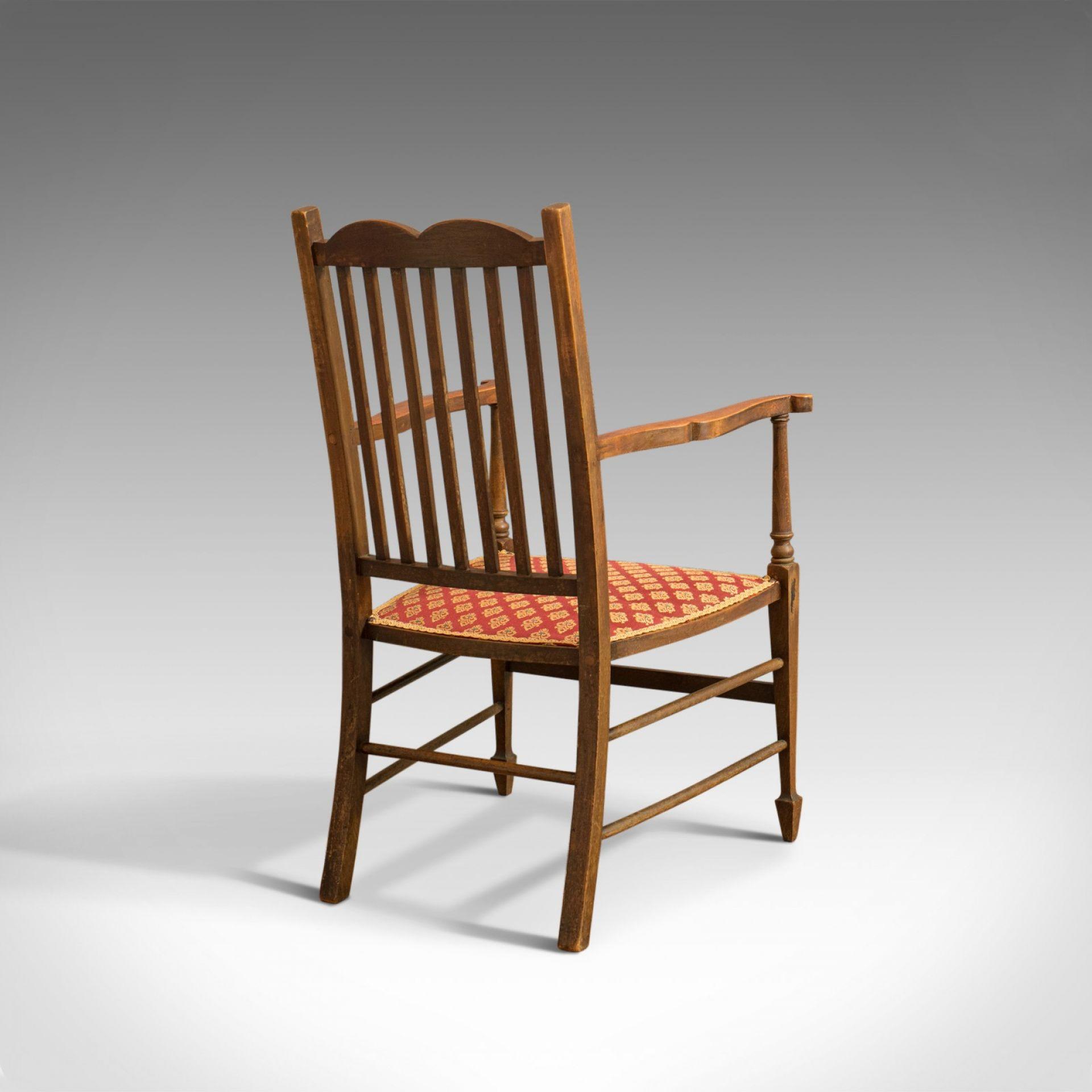 Antique Open Armchair, English, Mahogany, Elbow, Chair, Edwardian