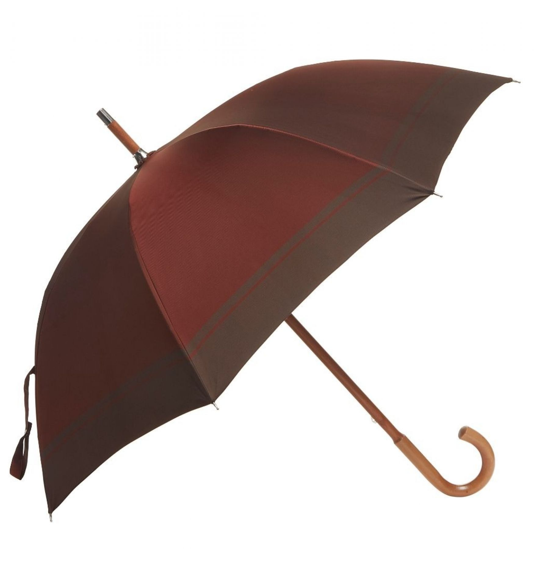 Loro Piana One-Piece Malacca Wood Umbrella with Brown Maroon Canopy