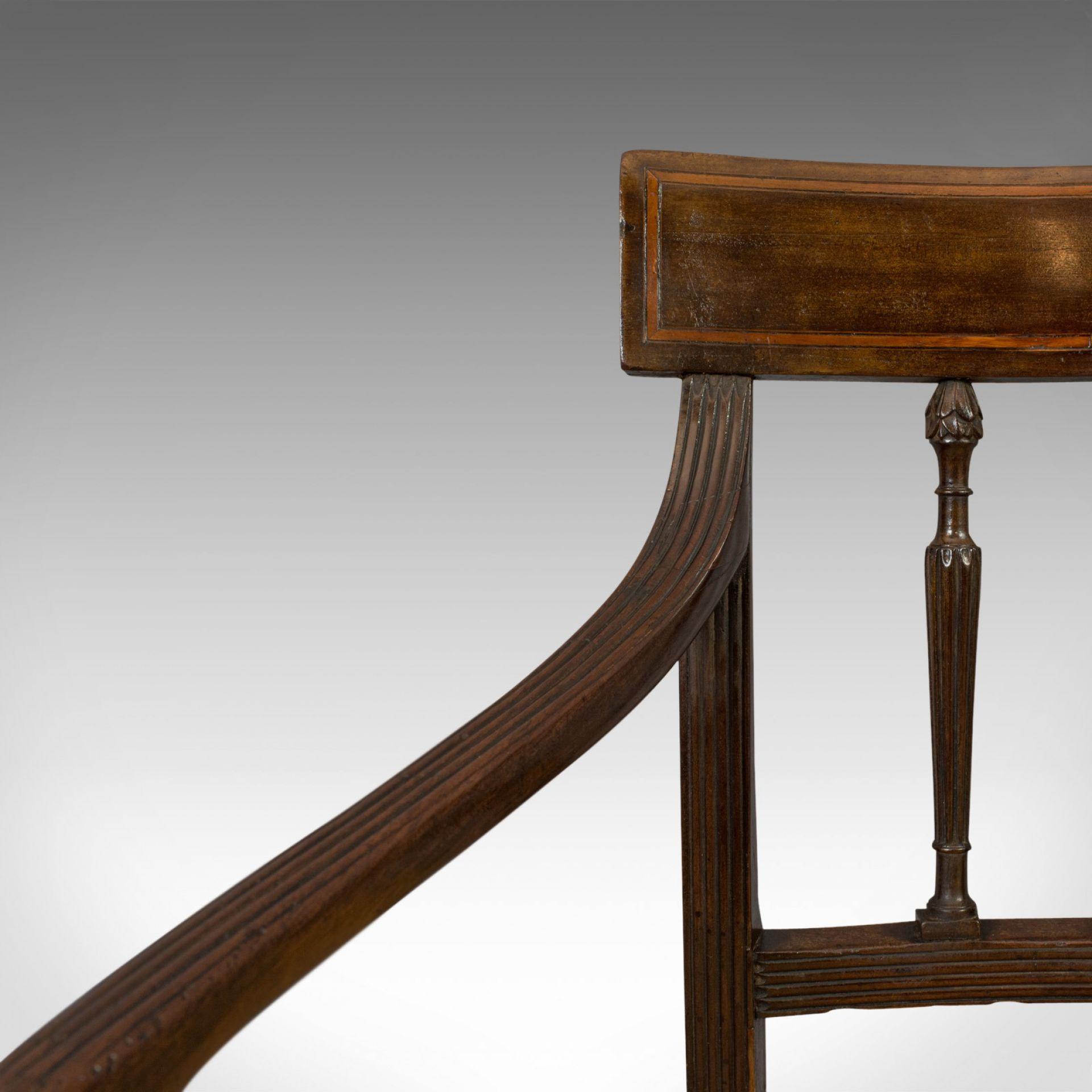 Antique Elbow chair, English, Mahogany, Armchair, Sheraton Overtones, Regency