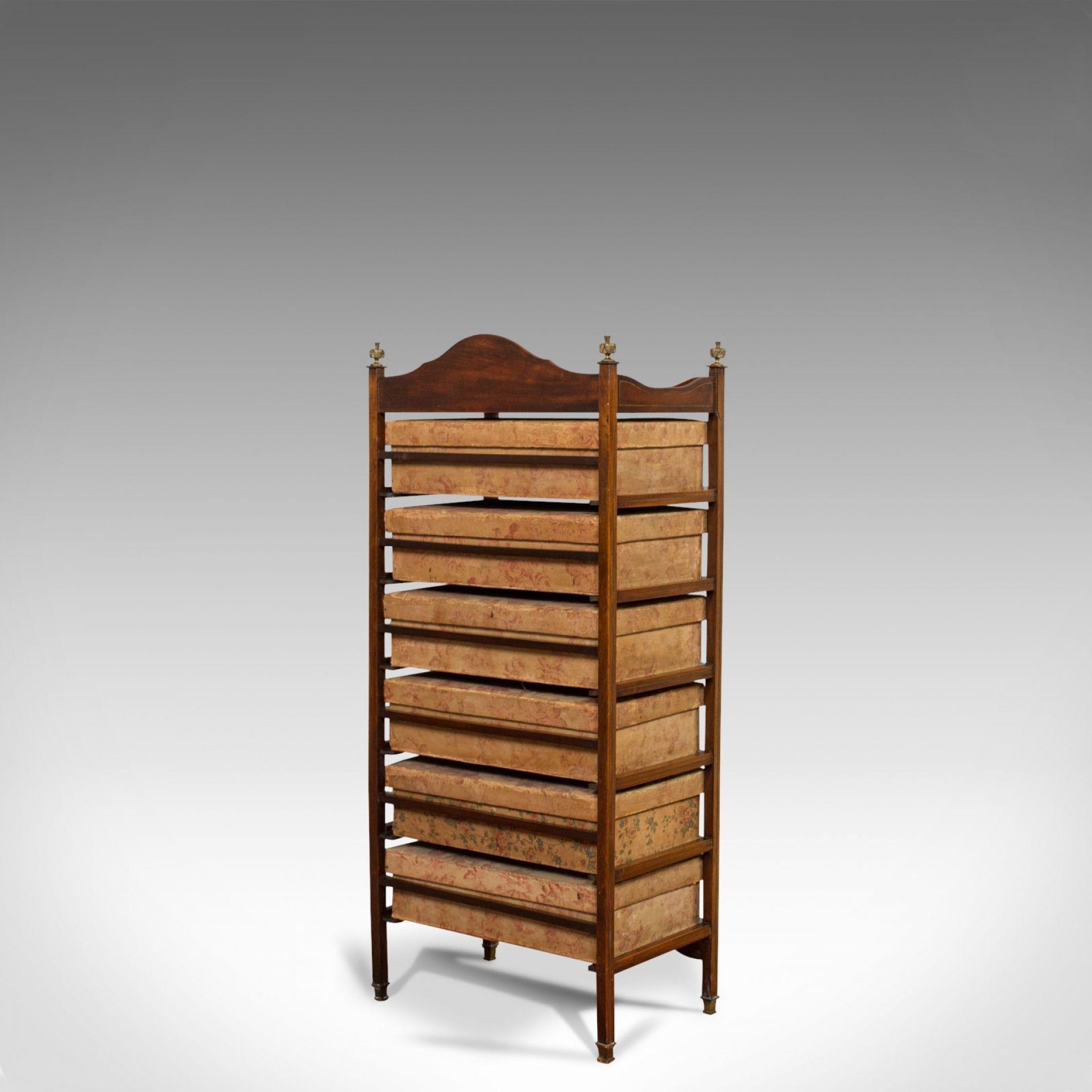 Antique Storage Cabinet, 6 Boxes, English, Edwardian, Mahogany, Brass, Etagere
