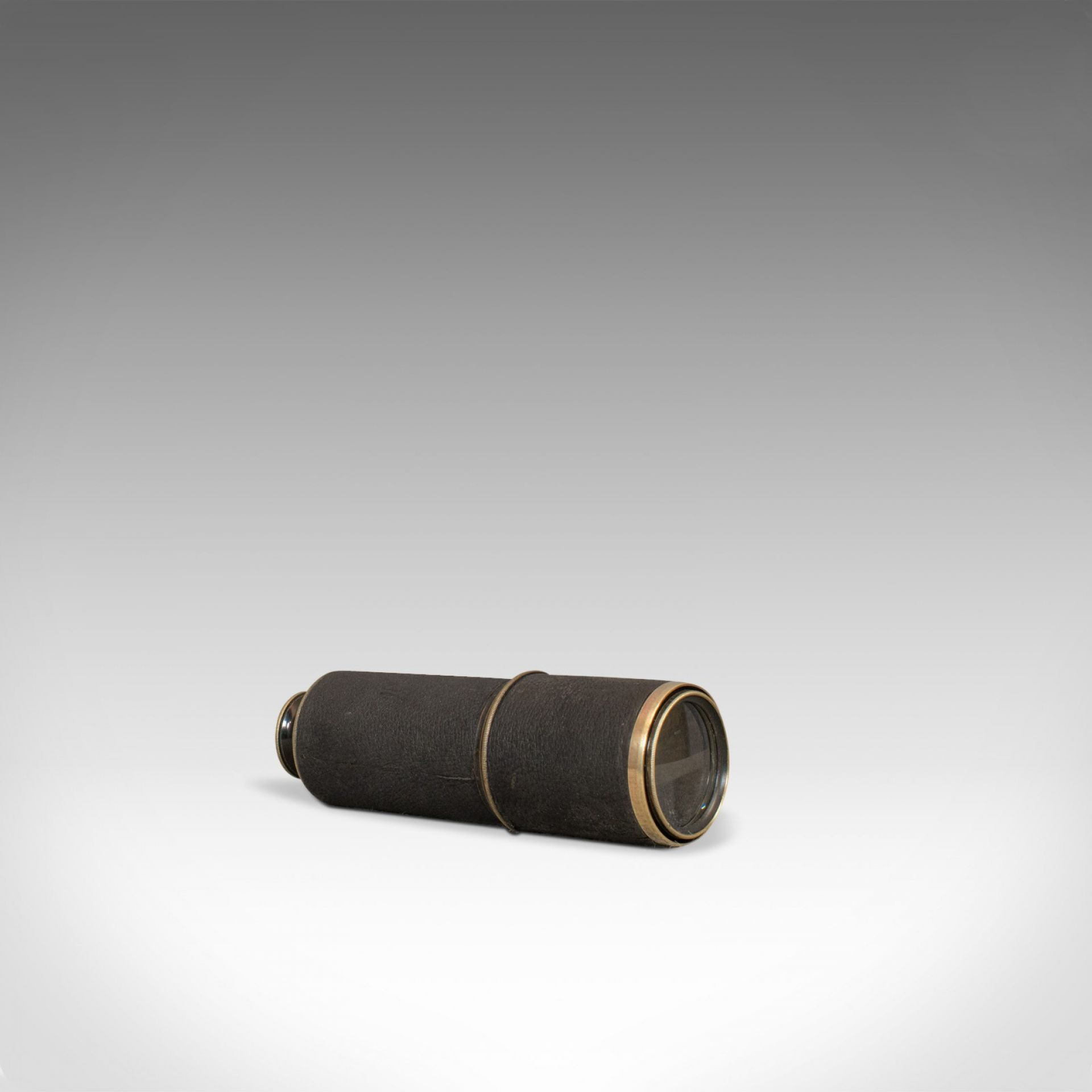Vintage Stalking Telescope, English, Leather, Brass, Pocket, 3 Draw, Early C20th