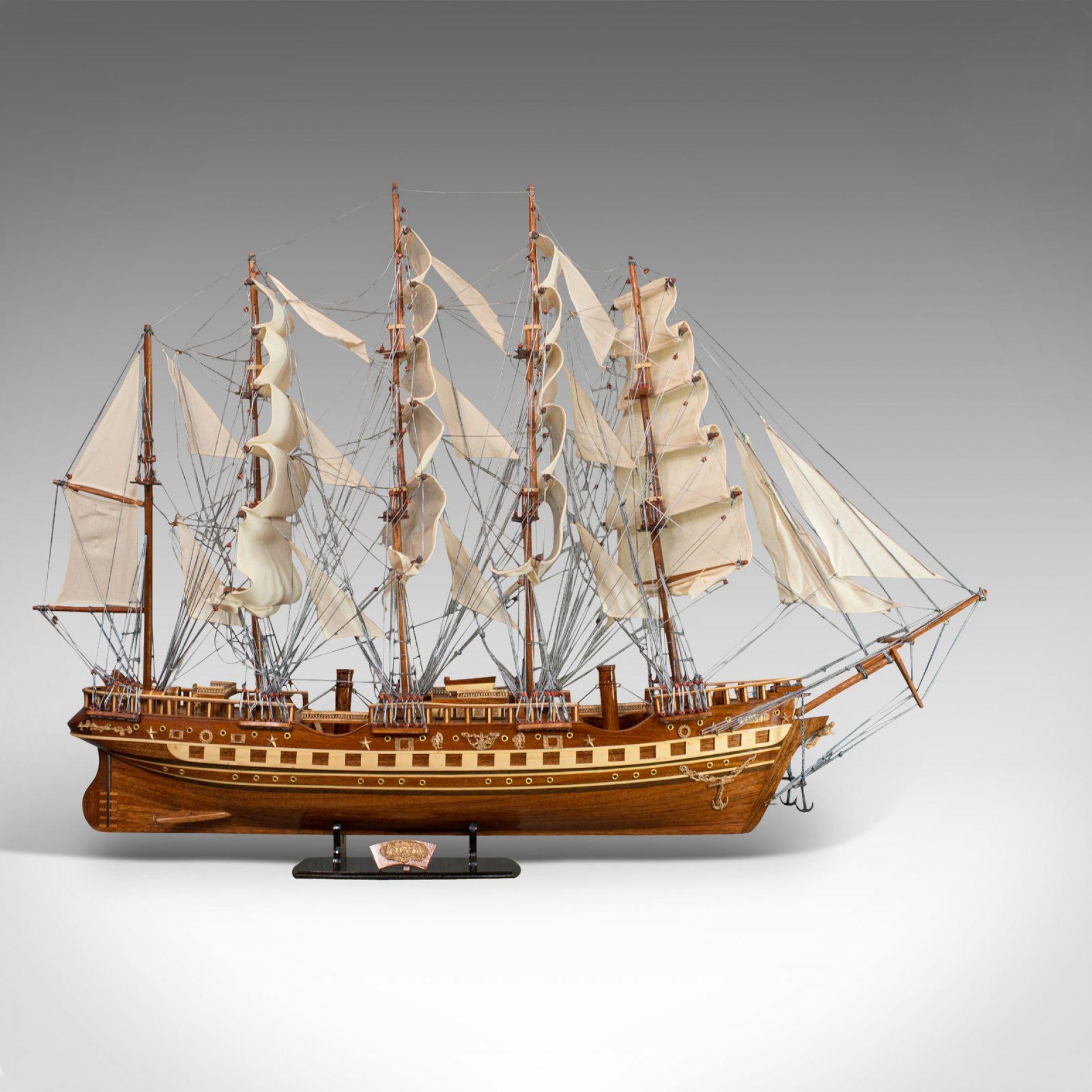 Large Vintage Model, France II, English, Mahogany, Collectible, Ship, Display