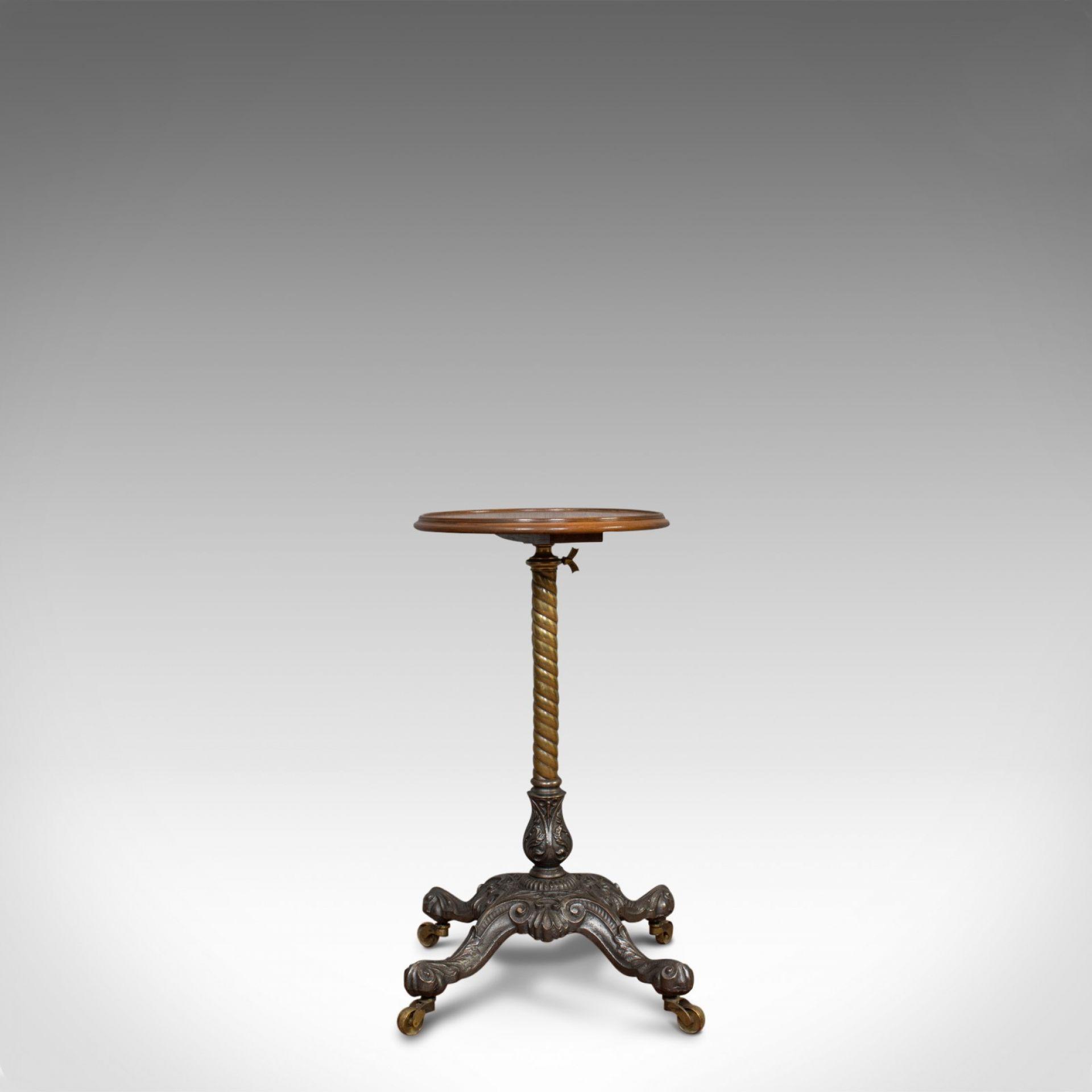 Antique Adjustable Wine Table, English, Mahogany, Cast Iron, Plant, Jardiniere