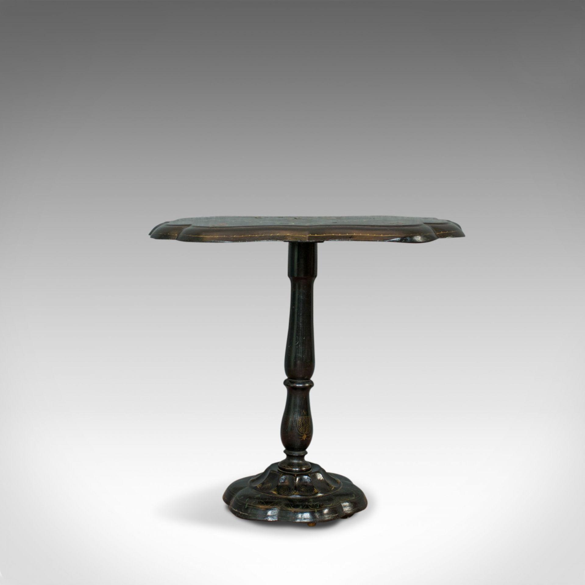 Antique Table, Ebonised, Papier Mache, Mother of Pearl, Side, Lamp, Wine, Tilt