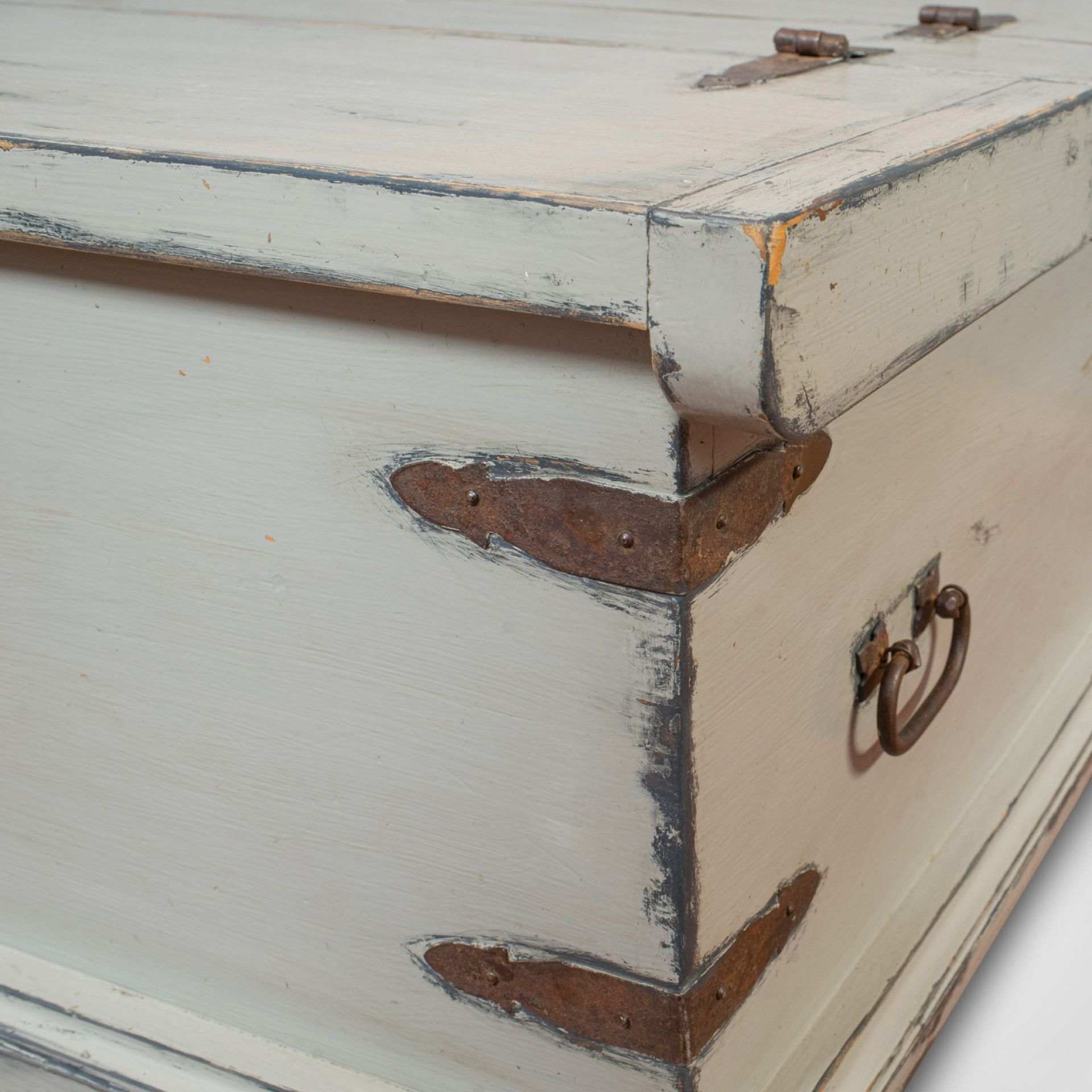 Vintage Carriage Trunk, English, Pine, Iron Bound, Travel Chest, Coffee Table