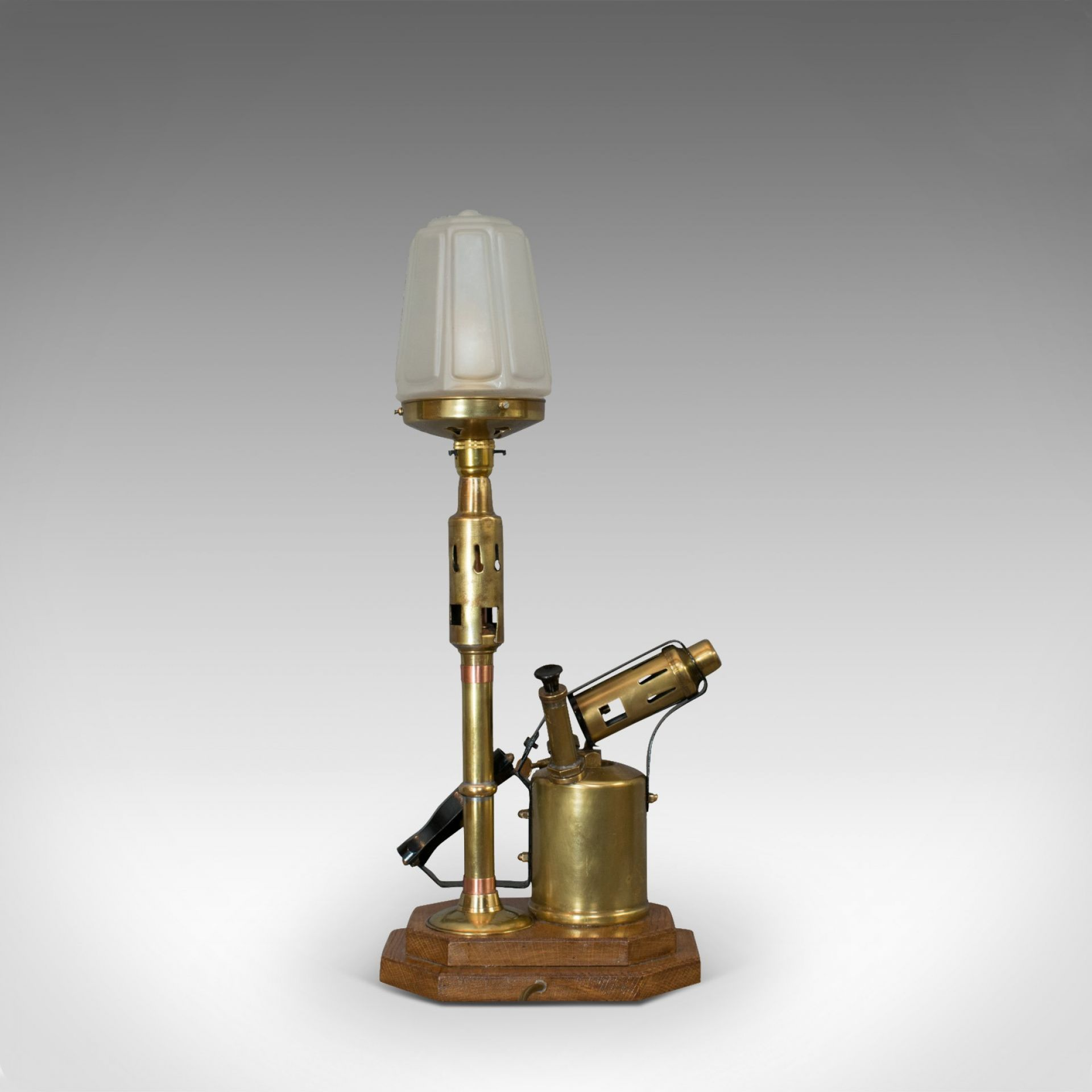Vintage Decorative Lamp, English, Brass, Blow Torch, Light, Shade, Oak Base