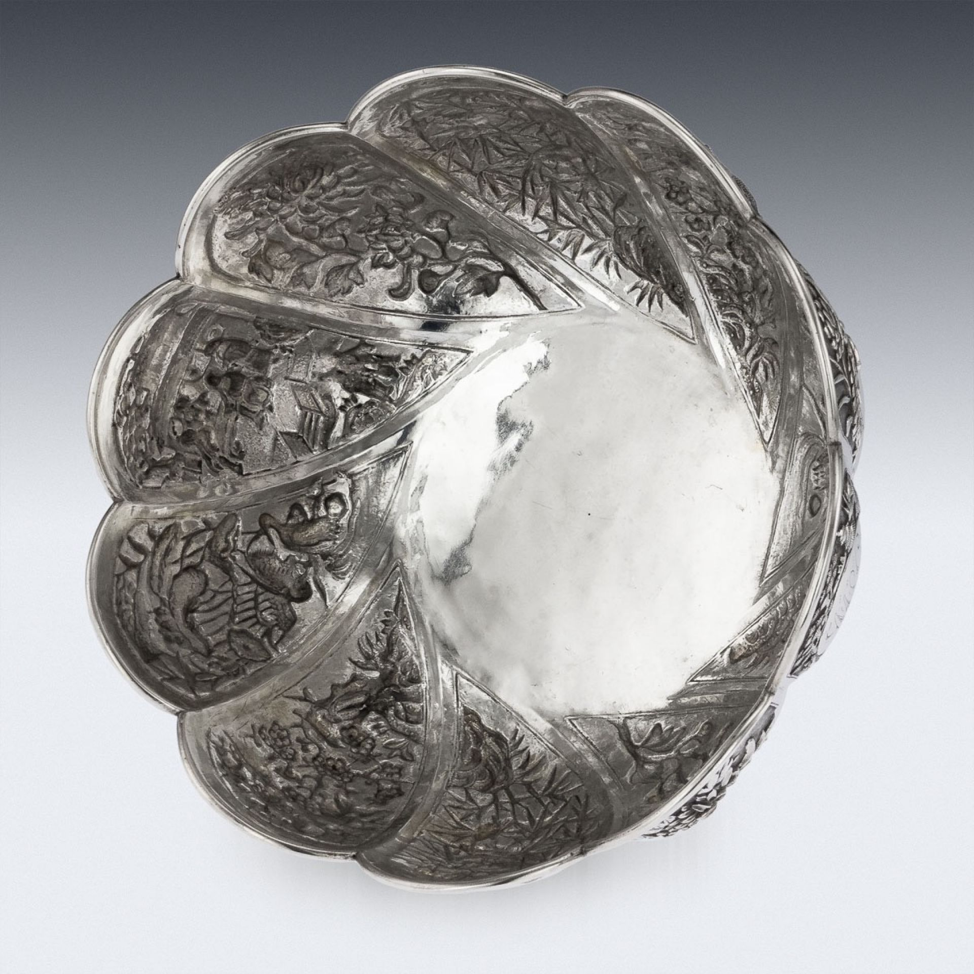 ANTIQUE 19thC CHINESE EXPORT SOLID SILVER BOWL, HUNG CHONG, SHANGHAI c.1890
