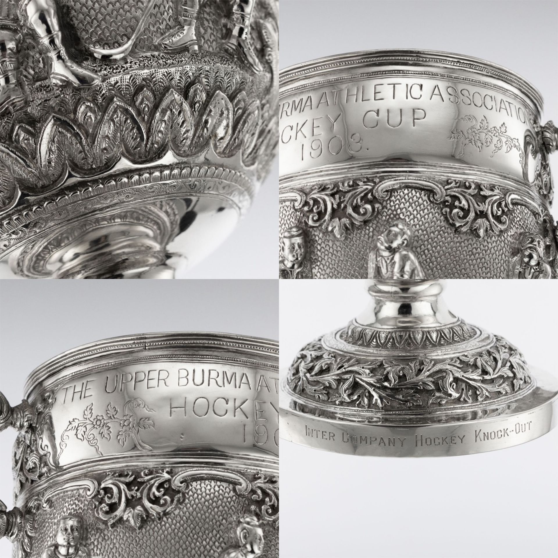 ANTIQUE 20THC BURMESE SOLID SILVER ATHLETIC ASSOCIATION HOCKEY CUP C.1903