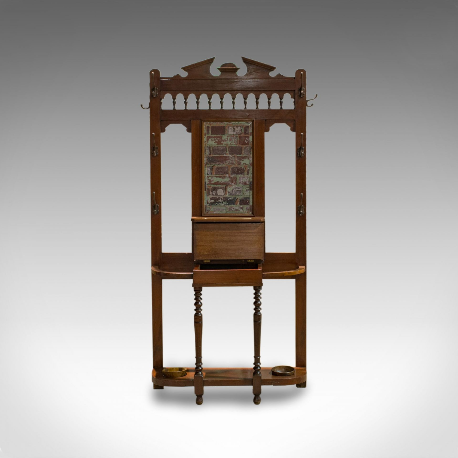 Antique Hall Stand, English, Walnut, Stick, Coat, Hat Stand, Edwardian, C.1910