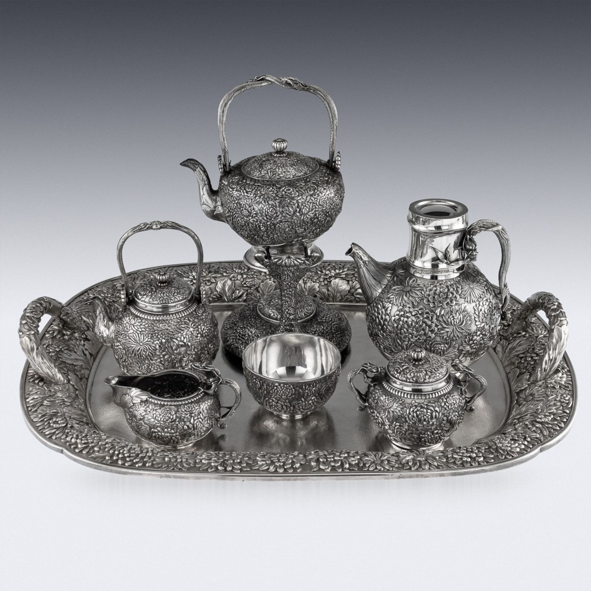 ANTIQUE 20thC JAPANESE SOLID SILVER TEA & COFFEE SERVICE ON TRAY, KONOIKE c.1900
