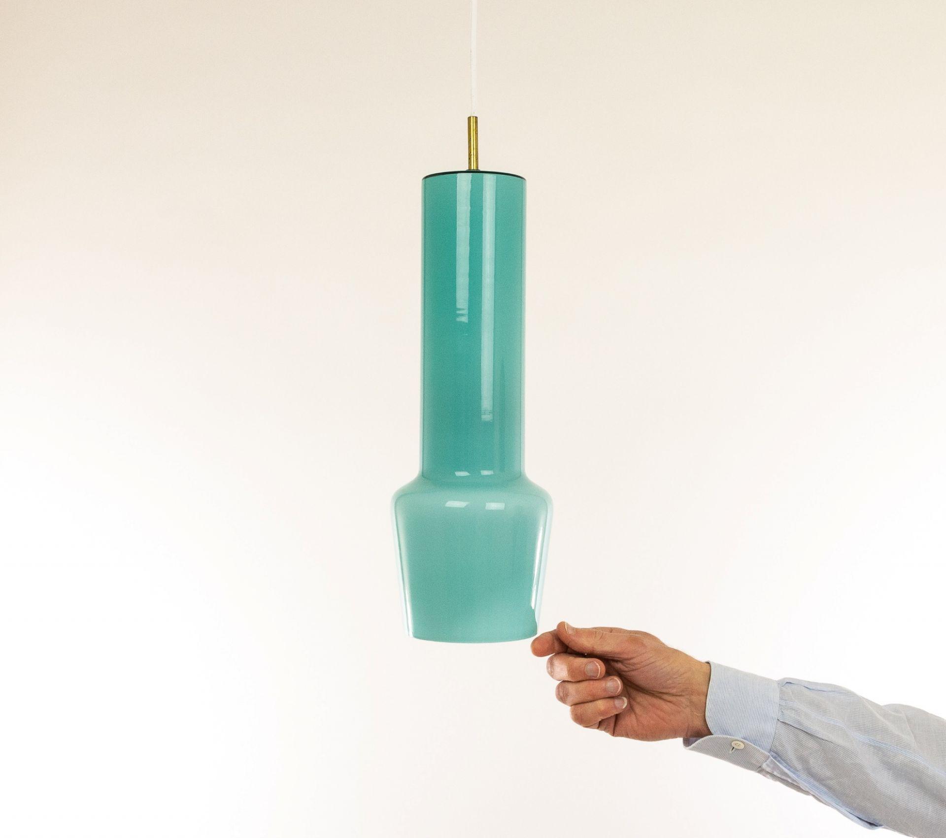 Turquoise glass pendant by Massimo Vignelli for Venini, 1950s