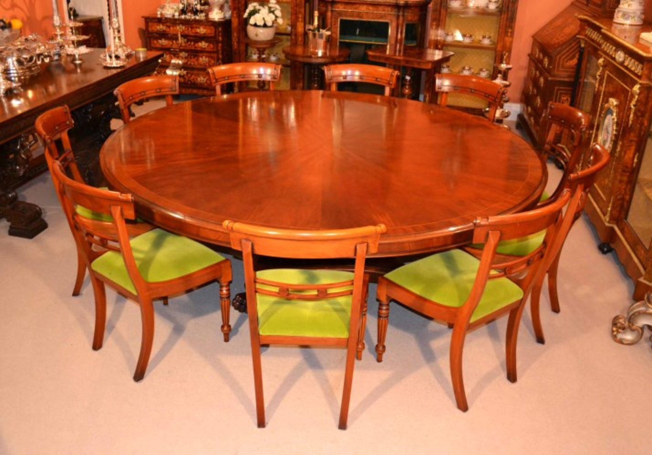 Vintage Dining Table & 10 Chairs 7 ft Round Mahogany