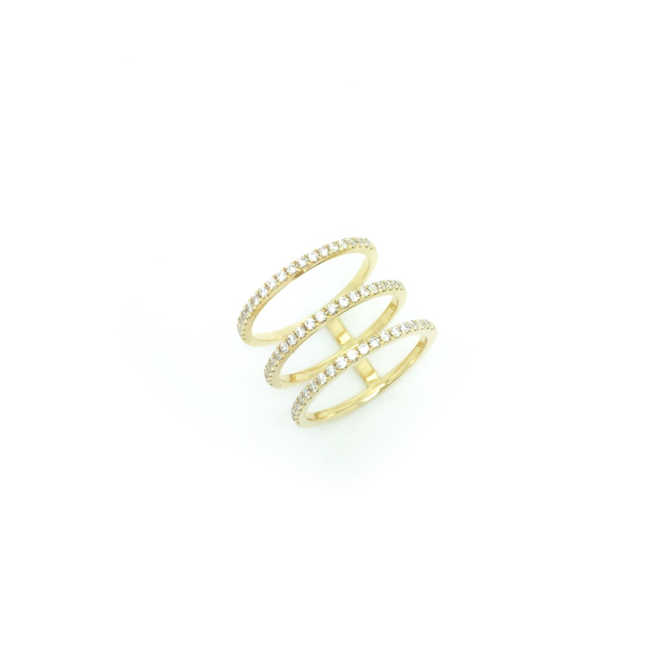 18K Gold White Diamond 3 Rows Ring