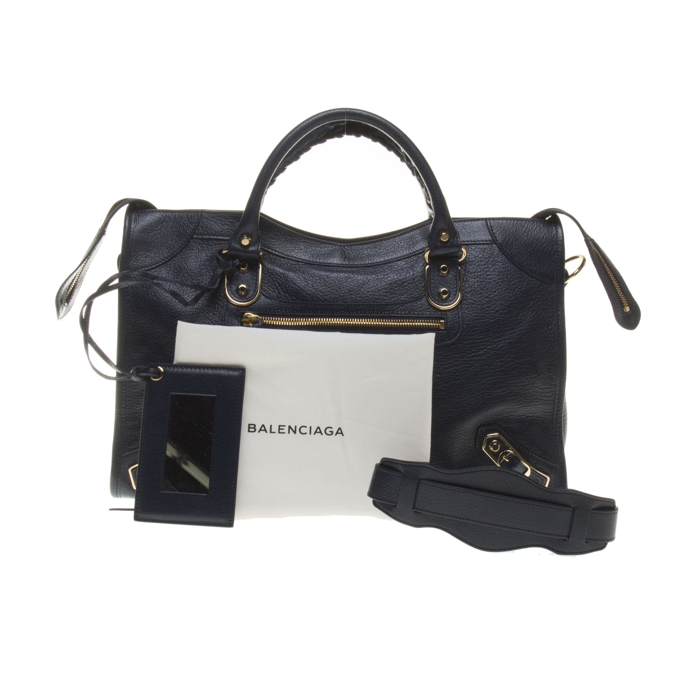 Balenciaga Navy Lambskin Gold Giant 12 Metallic Edge City Motorcycle Handbag