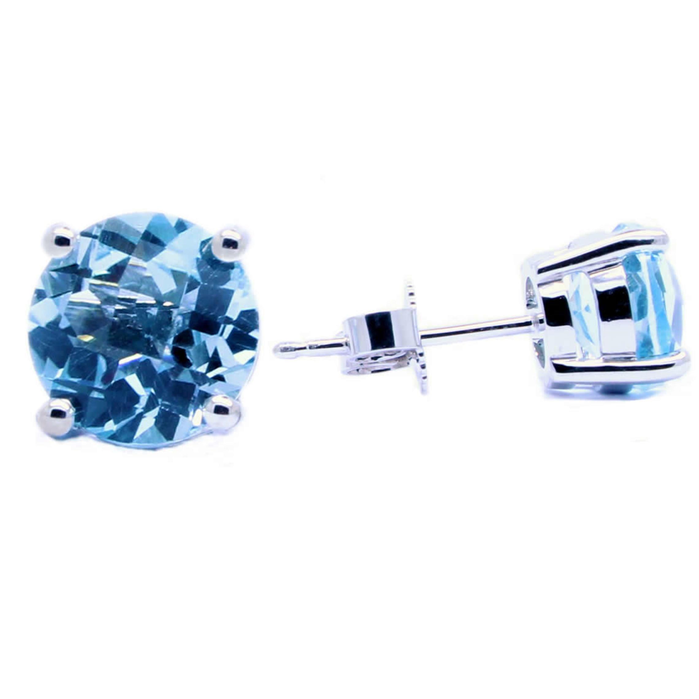 Sterling Silver Sky Blue Topaz Studs - Special Cut