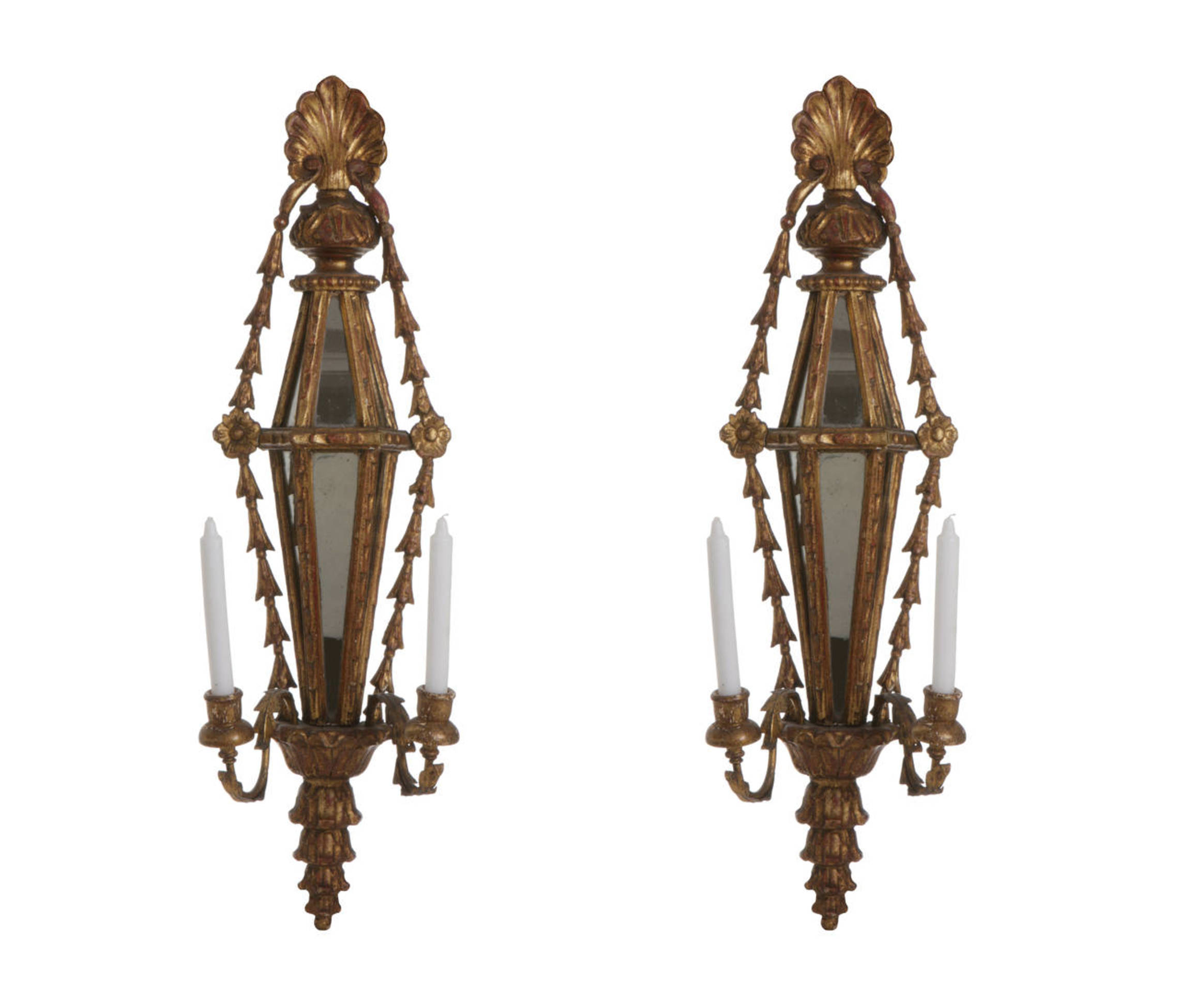 Italian Wood Gilded Candle Wall Lights