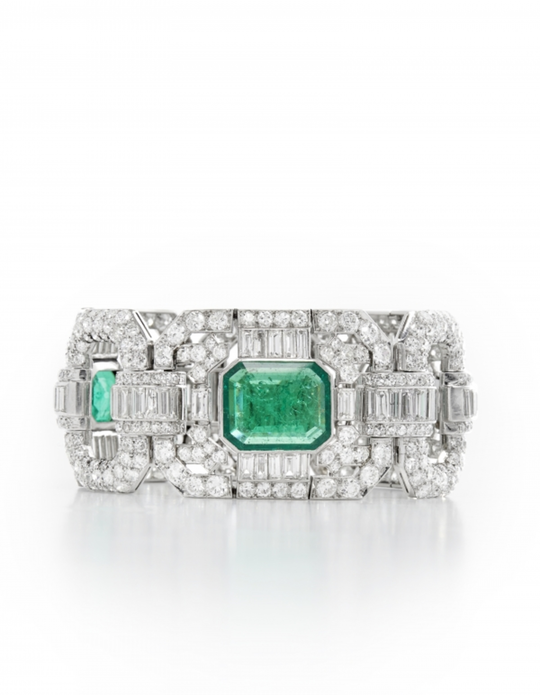 A Diamond and Emerald Bracelet, by Mauboussin