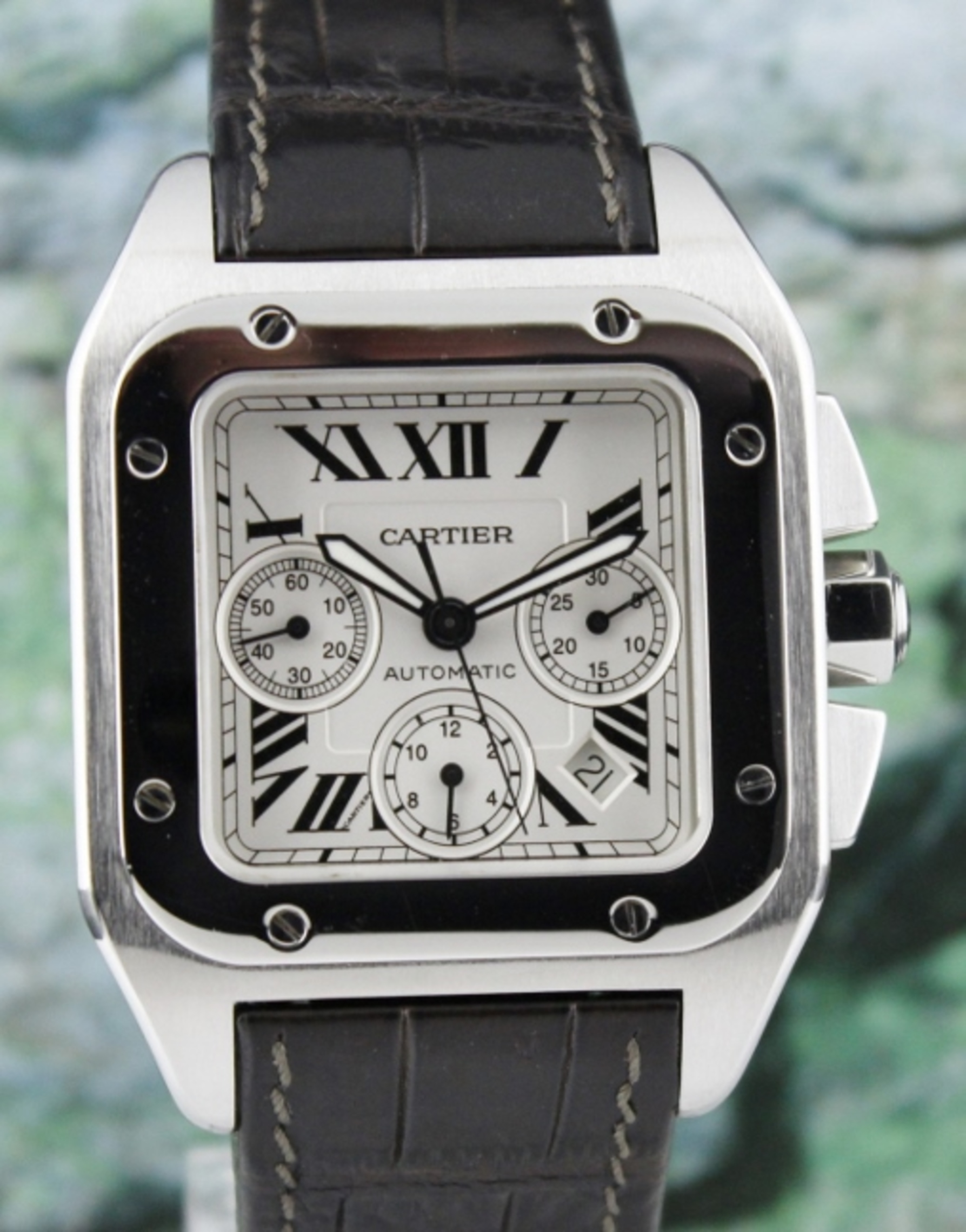 Cartier Santos 100 XL Stainless Steel Chronograph Watch / 2740
