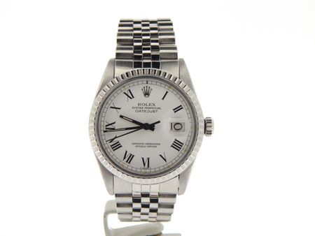Pre Owned Mens Rolex Stainless Steel Datejust with a White Roman Dial 16030