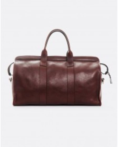 FRANK CLEGG TUMBLED LEATHER TRAVEL DUFFLE: CHESTNUT