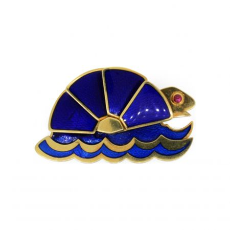 A Gold, Ruby and Enamel Turtle Brooch