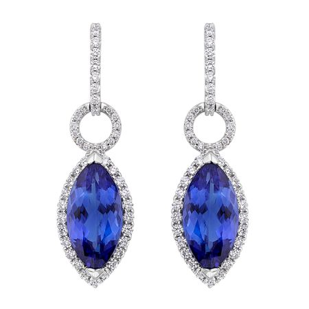 Diamond and Tanzanite Earrings in 18K WG
