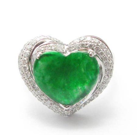 18kw Jade Heart Shape Ring
