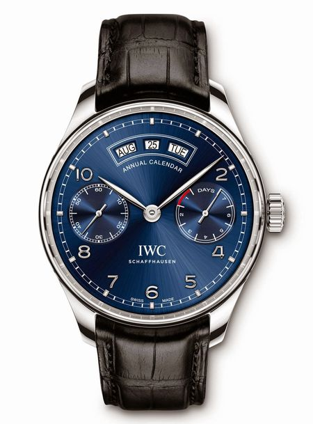 IWC Portugese Annual Calendar IW503502 Blue Stainless Steel Leather