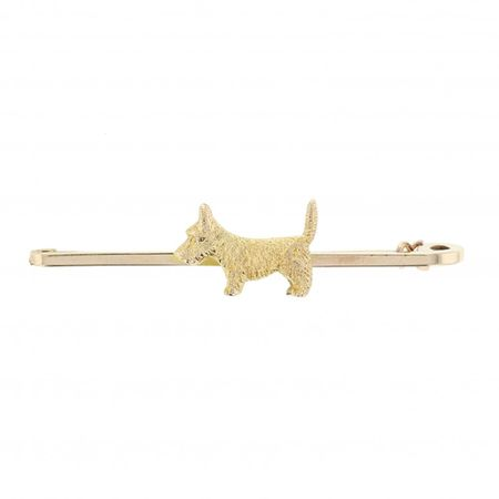 9ct Gold Scotty Dog Pin Brooch
