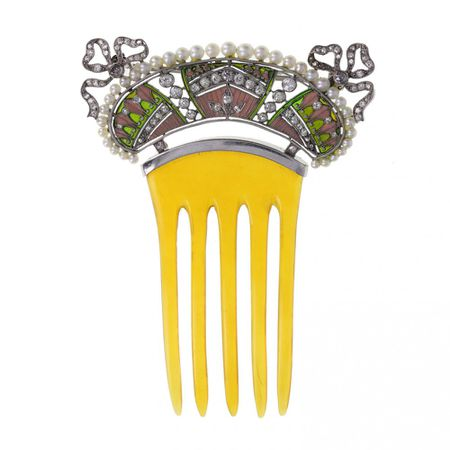 Belle Epoque Plique-à-jour Enamel Diamond and Pearl Comb Hairpiece