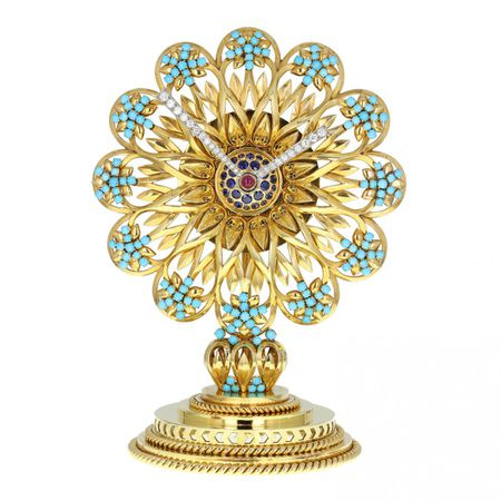 Important Boucheron Imperial Iranian Presentation Gem Set Gold Clock 1955