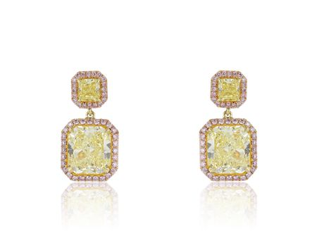 6.28CTW Radiant Fancy Yellow Diamond & Pink Diamond Earrings
